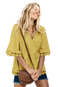 Yellow Lace Trim Elbow Sleeve Jersey Tunic Top