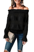 Load image into Gallery viewer, Black Off Shoulder Ruffle Long Sleeve Smocked Waist Lace Crochet Blouse