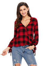 Load image into Gallery viewer, Black Red Plaid Drape Top