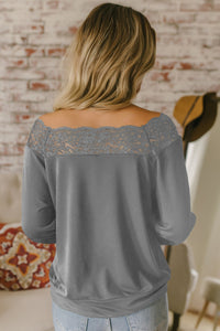 Gray Lace Detail Boatneck Pullover Blouse
