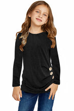 Load image into Gallery viewer, Black Little Girls Long Sleeve Buttoned Side Top