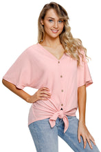 Load image into Gallery viewer, Pink Dolman Buttoned Front Top with Tie