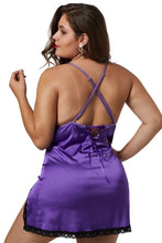 Load image into Gallery viewer, Purple Plus Size Satin Chemise with Lace