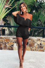 Load image into Gallery viewer, Black Strapless Flounce Romper