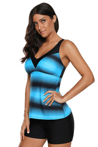 Blue Black Ombre Print Strappy Tankini and Short Set