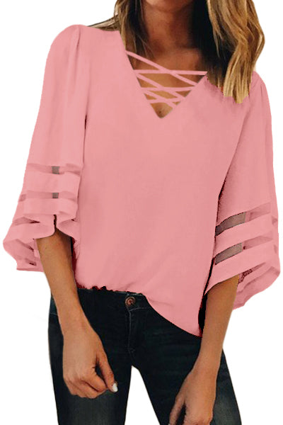 Pink Criss Cross Neck 3/4 Bell Sleeve Blouse
