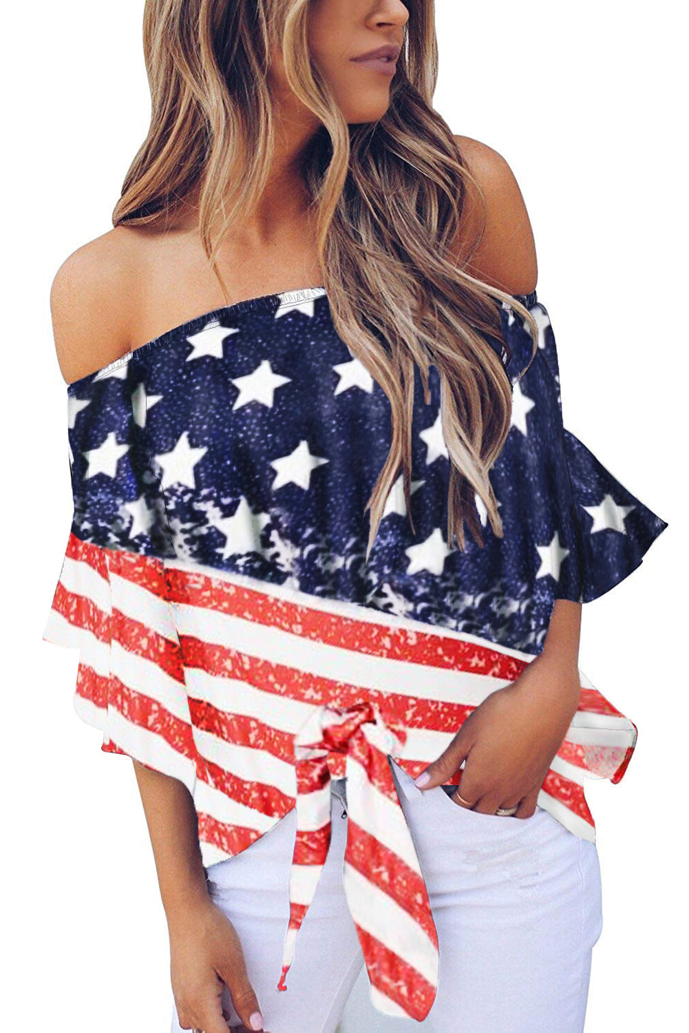 Stripes Stars Print Off The Shoulder Blouse