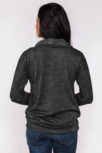 Load image into Gallery viewer, Black Twist of Winter Cowl Neck Sweatshirt