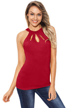 Load image into Gallery viewer, Red Cutout Halter Racerback Tank Top