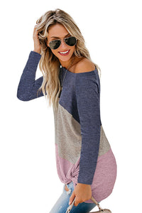 Purple Color Block Crew Neck Top