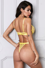 Load image into Gallery viewer, Yellow Romantic Night Lace Bralette Lingerie Set
