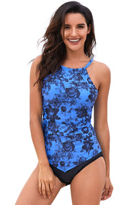 Sky Blue Hanky Hem High Neck Tankini