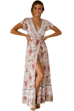 Load image into Gallery viewer, White V-Neck Beach Resort Printed Dress