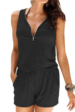 Load image into Gallery viewer, Black Loose V Neck Front Zipper Jumpsuit