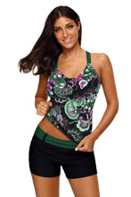 Load image into Gallery viewer, Green Floral Printed Blouson Tankini Top