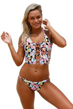 Load image into Gallery viewer, Floral Lace up Crop Top Bikini Swimsuit