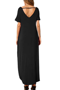 Black Lace Front Pocket Short Sleeve Split Casual Loose Maxi Dress