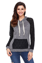 Load image into Gallery viewer, Black Lace Accent Kangaroo Pocket Hoodie