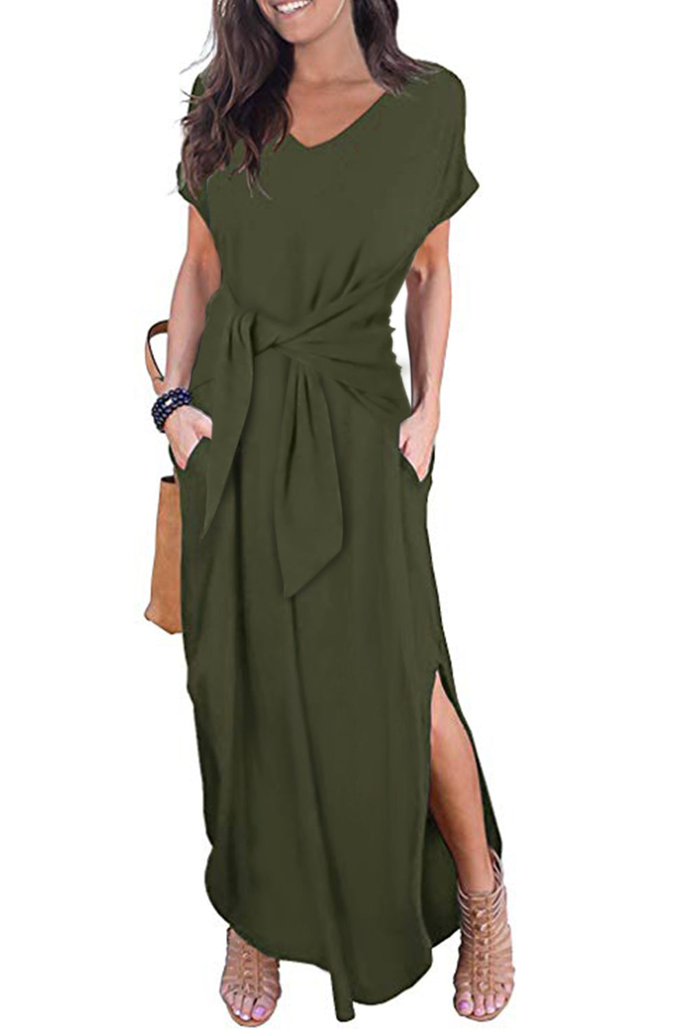 Green Casual Loose Pocket Short Sleeve Split Maxi Dress