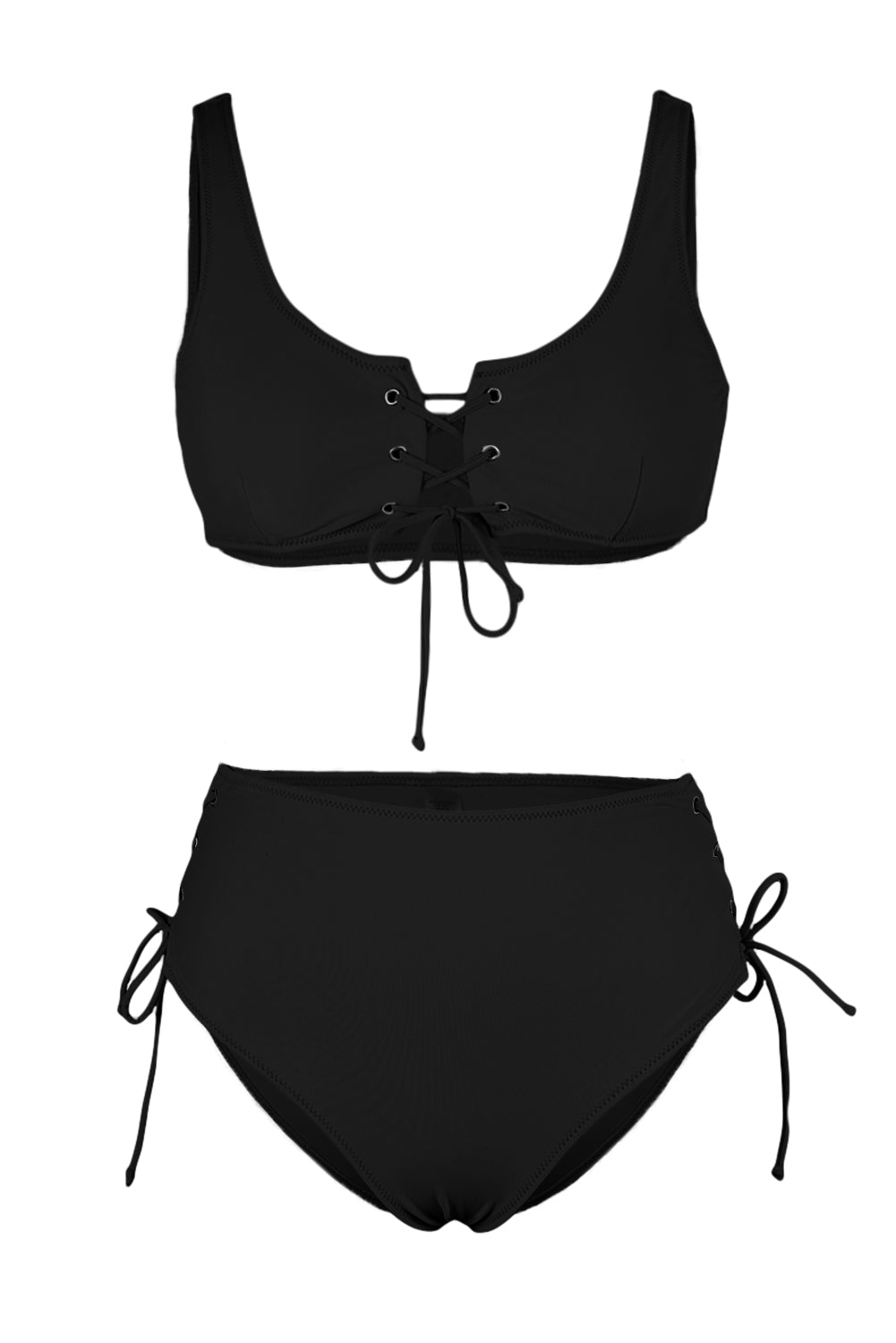 Black Lace-up High Waist Bikini