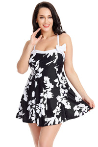 White Floral Print Black Swimdress with Panty
