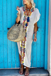 White Bohemian Pleated Printed Colour Slit Dress