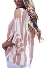 Load image into Gallery viewer, Pink Cold Shoulder Vertical Stripes Blouse