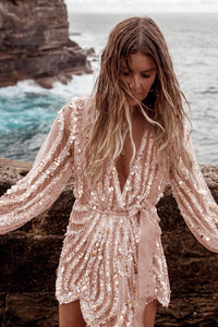 Gold Sequin Surpliced Wrap Deep V Neck Party Mini Dress