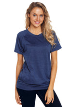 Load image into Gallery viewer, Navy Heathered Short Sleeve Pocket Tee
