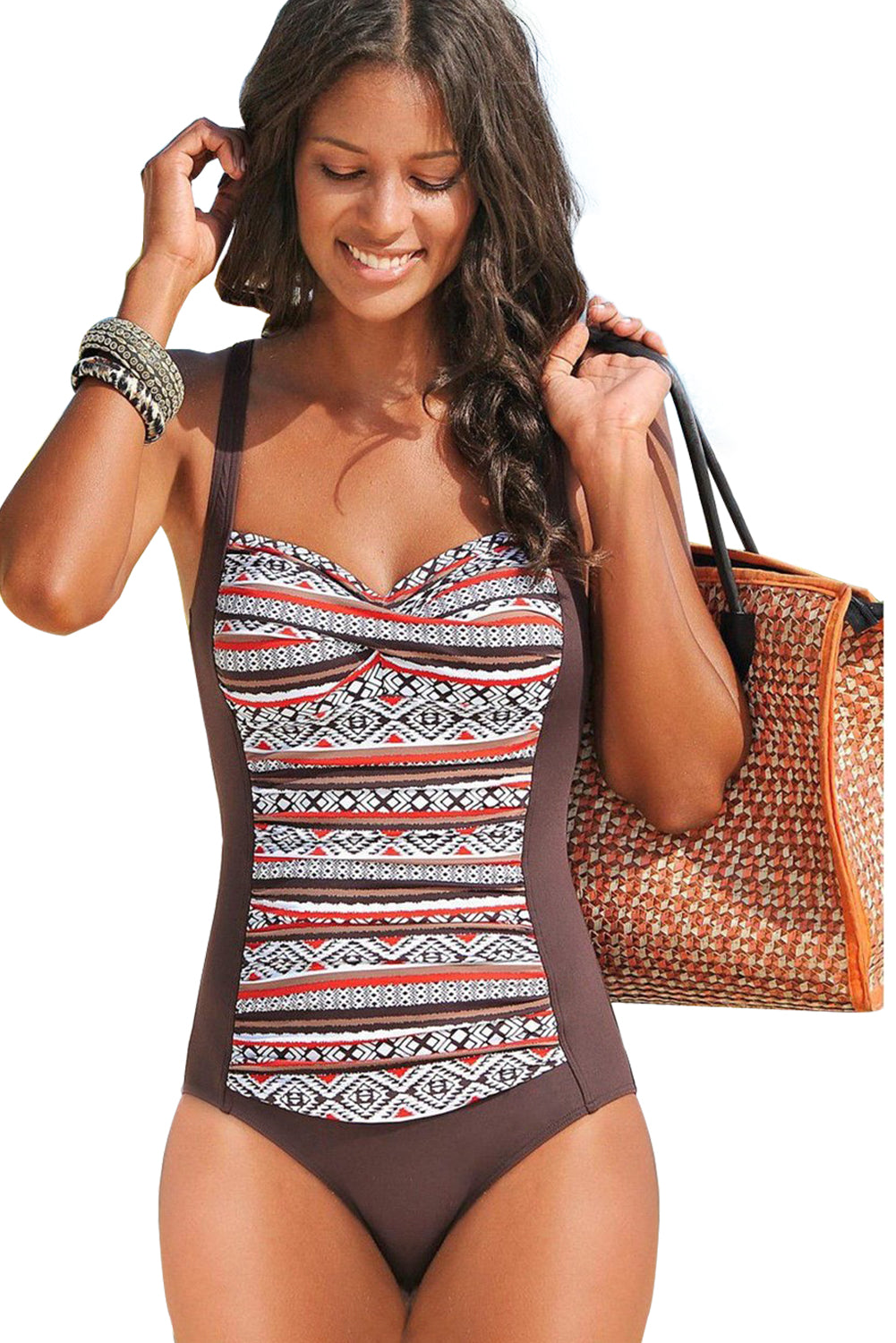 Brown Boho Print One Piece Swimwear