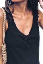 Load image into Gallery viewer, Black Front Knot Lace Shoulder Sleeveless Tank Top