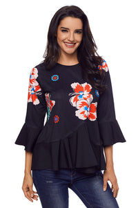 Cute Flowery Print Black Bell Sleeve Peplum Top