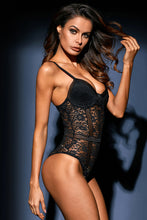 Load image into Gallery viewer, Black Floral Lace Bustier Bodysuit