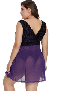 Purple Lace Covered Tulle Plus Size Babydoll
