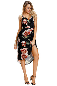 Deep V Neck Floral Print Boho Dress in Black