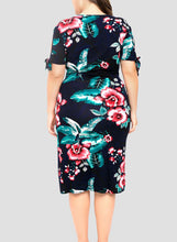 Load image into Gallery viewer, Plus Size Floral Printed Wrap Dress