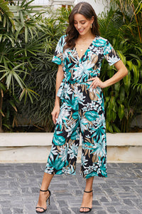 Green Wrap V Neck Floral Wide Leg Jumpsuit with Belt