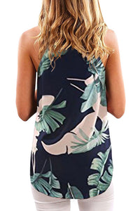 All Over Green Leaves Print Tank Top