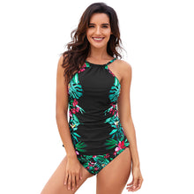 Load image into Gallery viewer, Black Leaf & Flower Print Ruched Tankini Set