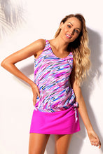 Load image into Gallery viewer, Multicolor Illusion Tie Side Tankini Skirtini Swimsuit