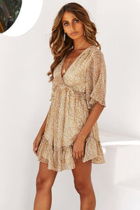 Yellow Speckle Print Ruffle Babydoll Style Short Dress