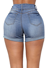 Load image into Gallery viewer, Faded Wash Ultrashort Turn-up Short Jeans