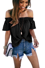 Load image into Gallery viewer, Black Solid Shirring Off Shoulder Hollow out Top