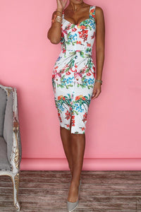 White Floral Print Button Through Bodycon Dress