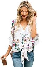 Load image into Gallery viewer, White Flowery Print Tie Front Kimono Sleeve Blouse