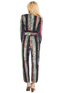 Pop The Champagne Pocketed Sequin Jumpsuit