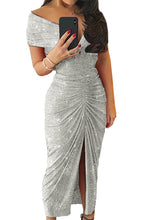 Load image into Gallery viewer, Gray Glitter Off Shoulder Ruched Slit Party Dress