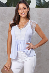 Gray From A Dream Lace Tank Top with Vest