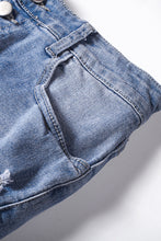 Load image into Gallery viewer, Blue Button Front Distressed Shorts