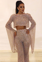 Load image into Gallery viewer, Casual Boat Neck Bell Sleeve Bare Back Two-piece Sequin Suit